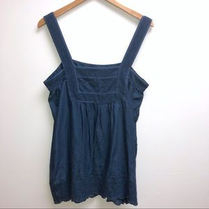 Joie Large Navy Blue Tank Top Embroidered bottom